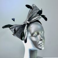 Black and Silver Fascinator - SN517